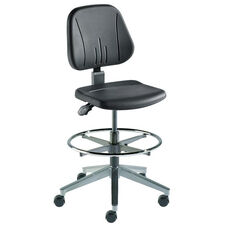 Quick Ship Unitec Series Chair with Black Self Skinned Urethane and Cast Aluminum Base - High Seat Height