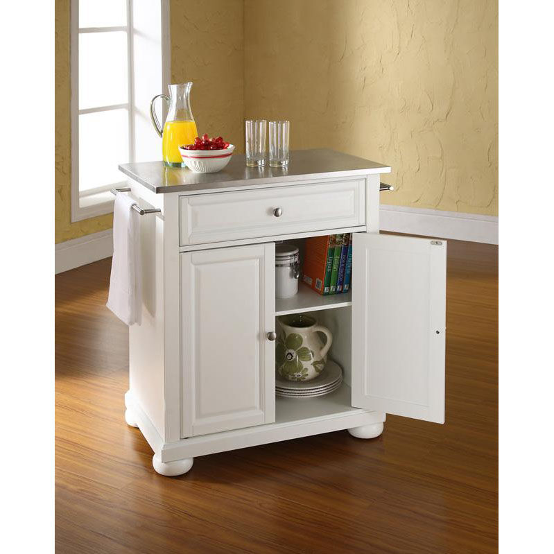 ... Our Stainless Steel Top Portable Kitchen Island With Alexandria Feet    White Finish Is On Sale