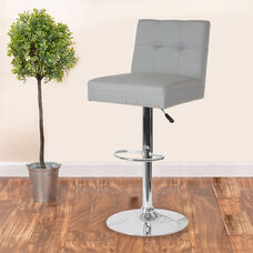 Ravello Contemporary Adjustable Height Barstool with Accent Nail Trim in Light Gray Fabric