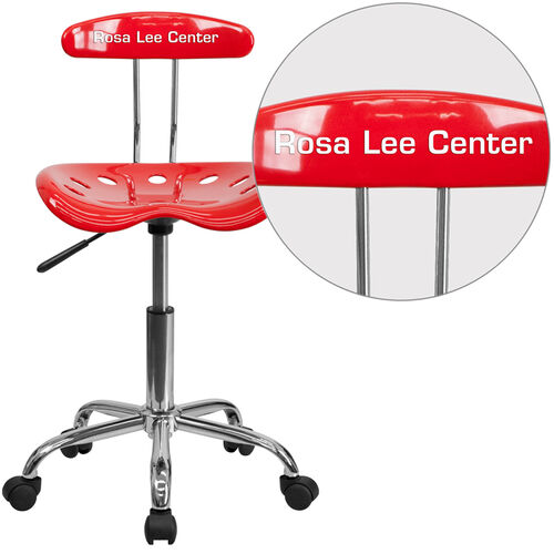Our Personalized Vibrant Red and Chrome Swivel Task Office Chair with Tractor Seat is on sale now.