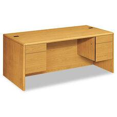 HON® 10700 Series Desk - 3/4 Height Double Pedestals - 72w x 36d x 29 1/2h - Harvest