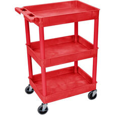 Heavy Duty Multi-Purpose Mobile Tub Utility Cart with 3 Tub Shelves - Red - 24