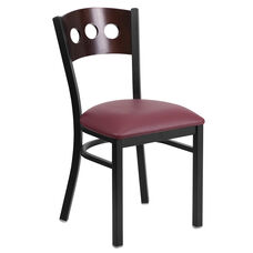 Black Decorative 3 Circle Back Metal Restaurant Chair with Walnut Wood Back & Burgundy Vinyl Seat