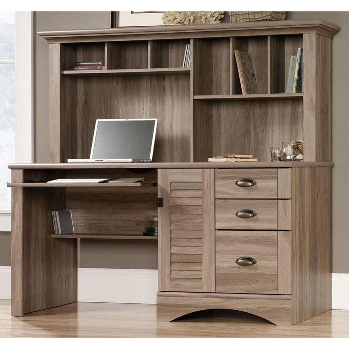 Our Harbor View 62 25 W Computer Desk With Hutch Salt Oak Is On