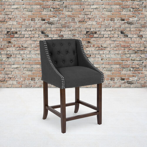 """Carmel Series 24"""" High Transitional Tufted Walnut Counter Height Stool with Accent Nail Trim in Charcoal Fabric"""