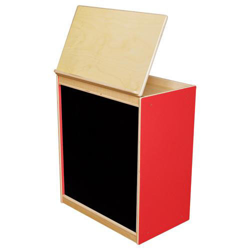 Our Strawberry Red Big Book Display and Storage with Locking Piano Hinged Top with Flannel on Front - Assembled - 24