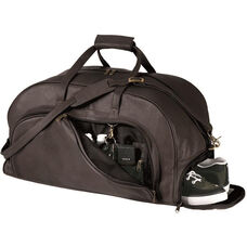 Organizer Duffel Bag with Shoe Compartment - Milano Top Grain Leather - Black