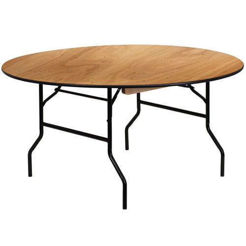 Our 5-Foot Round Wood Folding Banquet Table with Clear Coated Finished Top is on sale now.