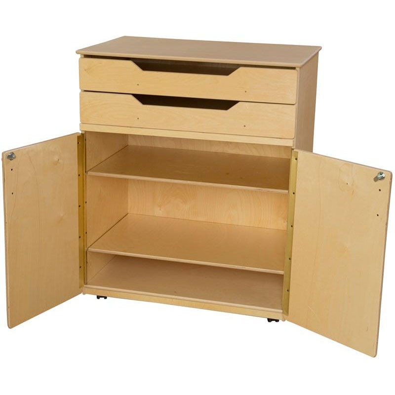 ... Our Wooden Mobile Storage Cabinet with 2 Adjustable Shelves and 2 Top Drawers - 36u0027  sc 1 st  Bizchair.com & Wooden Mobile Storage Cabinet 990734 | Bizchair.com