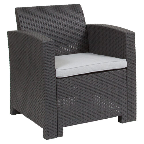 Our Dark Gray Faux Rattan Chair with All-Weather Light Gray Cushion is on sale now.