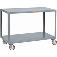 Mobile Table With 2 Flush Shelves and 5