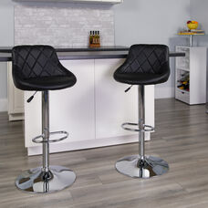 Contemporary Black Vinyl Bucket Seat Adjustable Height Barstool with Diamond Pattern Back and Chrome Base