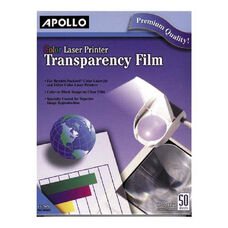 Apollo Color Laser Printer Transparency Film - Pack Of 50