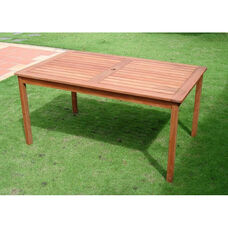 Malibu Outdoor Wood Rectangular Dining Table with Straight Legs