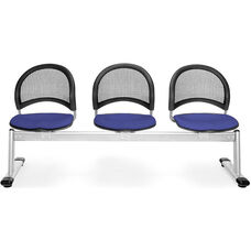 Moon 3-Beam Seating with 3 Fabric Seats - Royal Blue