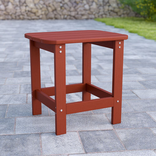 Charlestown All-Weather Poly Resin Wood Adirondack Side Table in Red