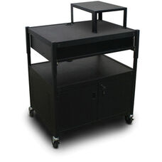 Spartan Series Adjustable Media Projector Cart and Cabinet with One Pull-Out Front-Shelf and Expansion Shelf - Black