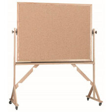 Reversible Free Standing Natural Pebble Grain Cork Bulletin Board with Red Oak Frame - 48''H x 72''W