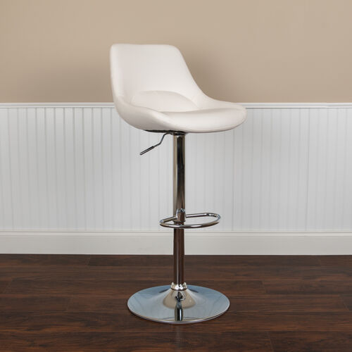 Our Contemporary White Vinyl Adjustable Height Barstool with Chrome Base is on sale now.