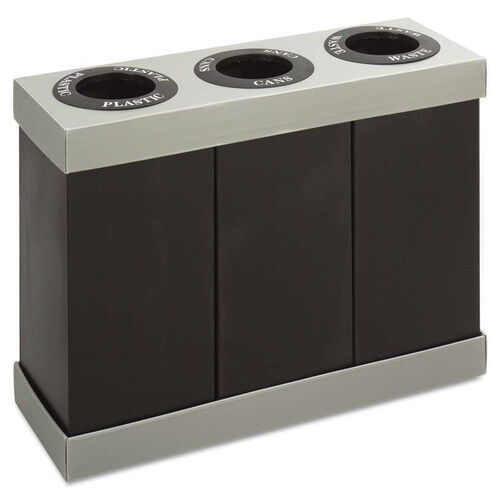 Safco® At-Your-Disposal Recycling Center - Polyethylene - Three 28gal Bins - Black