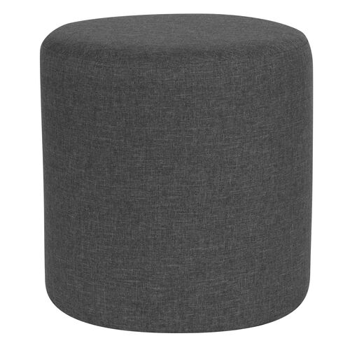 Our Barrington Upholstered Round Ottoman Pouf in Dark Gray Fabric is on sale now.