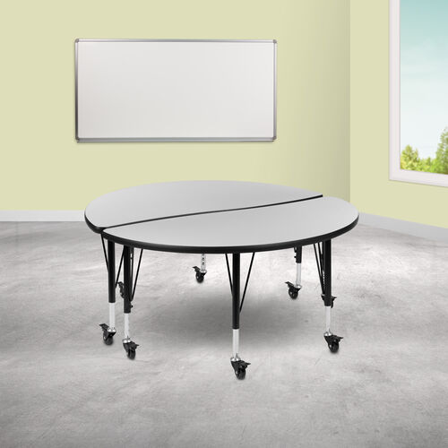 """Our 2 Piece Mobile 47.5"""" Circle Wave Collaborative Grey Thermal Laminate Kids Adjustable Activity Table Set is on sale now."""