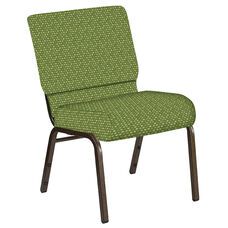 Embroidered 21''W Church Chair in Optik Olive Fabric - Gold Vein Frame