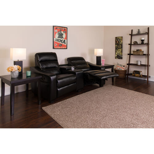Futura Series 2-Seat Reclining Black LeatherSoft Tufted Bustle Back Theater Seating Unit with Cup Holders