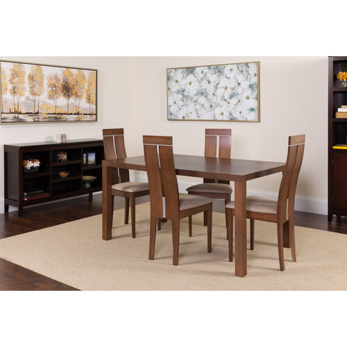 Our Clarke 5 Piece Walnut Wood Dining Table Set with Clean Line Wood Dining Chairs - Padded Seats is on sale now.