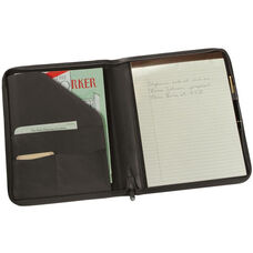 Zip Around Writing Padfolio - Aristo Bonded Leather - Black