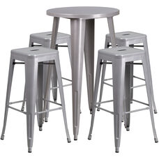 "Commercial Grade 24"" Round Silver Metal Indoor-Outdoor Bar Table Set with 4 Square Seat Backless Stools"