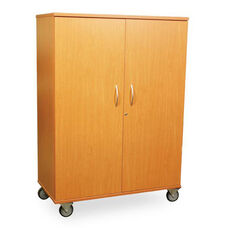 Transporter Storage Cabinet with 4 Adjustable Shelves, Divider & Garment Rod with 2 Locking & 2 Non-Locking Casters - 48