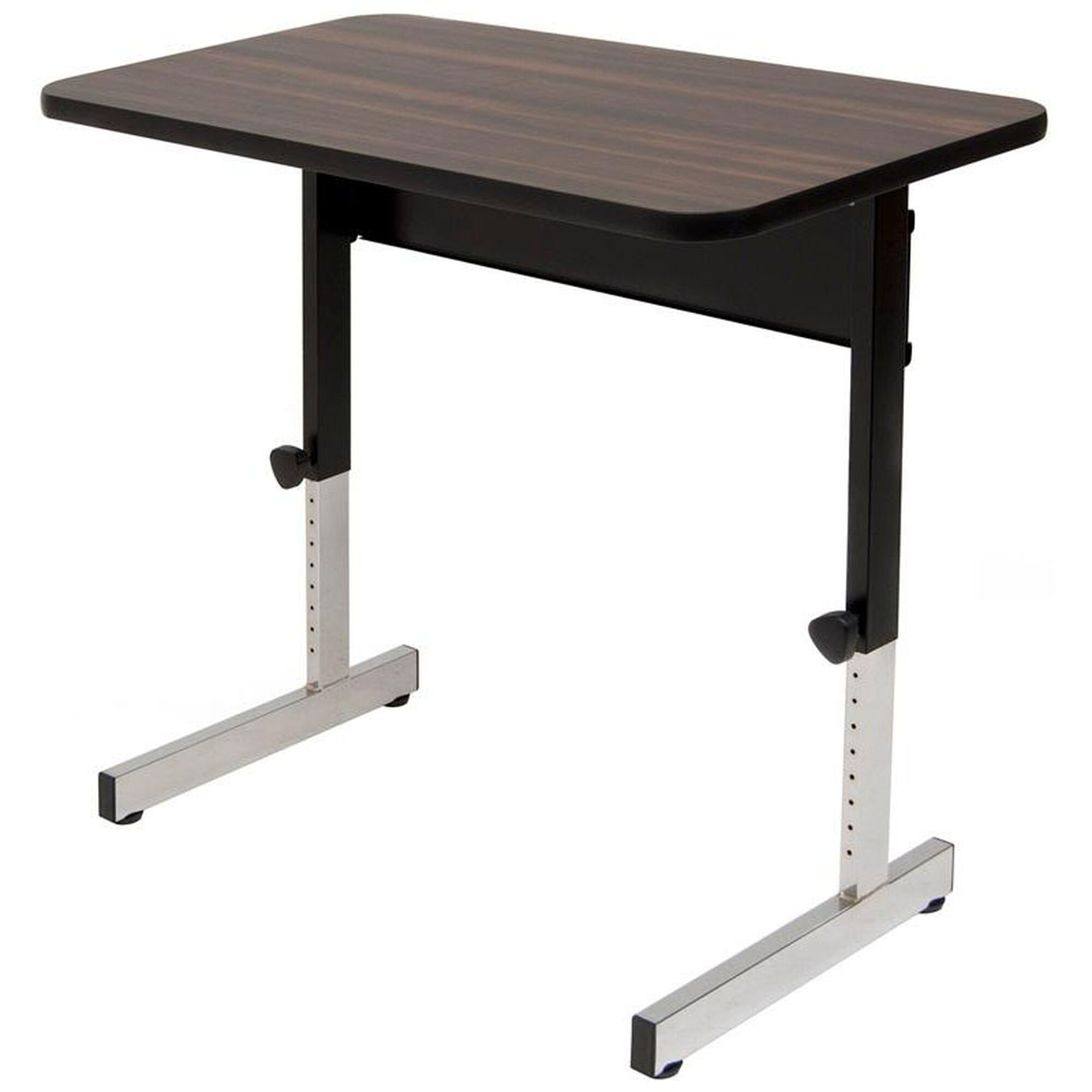 Adapta Work Station Height Adjustable Table with Walnut Top - Black