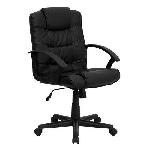 Our Mid-Back Black Leather Swivel Task Office Chair with Arms is on sale now.