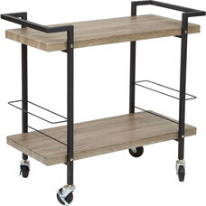 OSP Designs Maxwell Serving Cart with Powder Coated Steel Frame - Ash with Black Frame