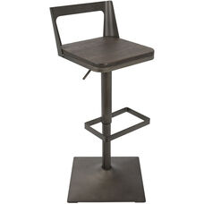 Samurai Industrial Height Adjustable Swivel Barstool with Antique Finish - Espresso