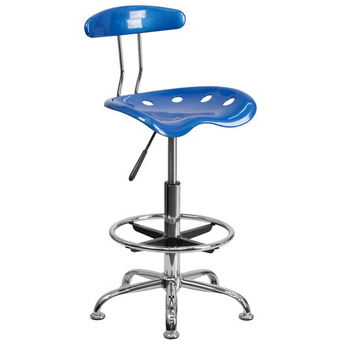 Our Vibrant Bright Blue and Chrome Drafting Stool with Tractor Seat is on sale now.