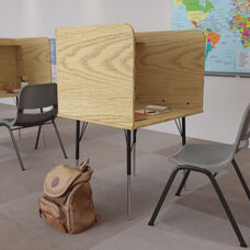 Stand-Alone Study Carrel with Top Shelf - Height Adjustable Legs and Wire Management Grommet - Oak Finish