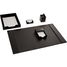 Bonded Leather 5 Piece Desk Set - Black