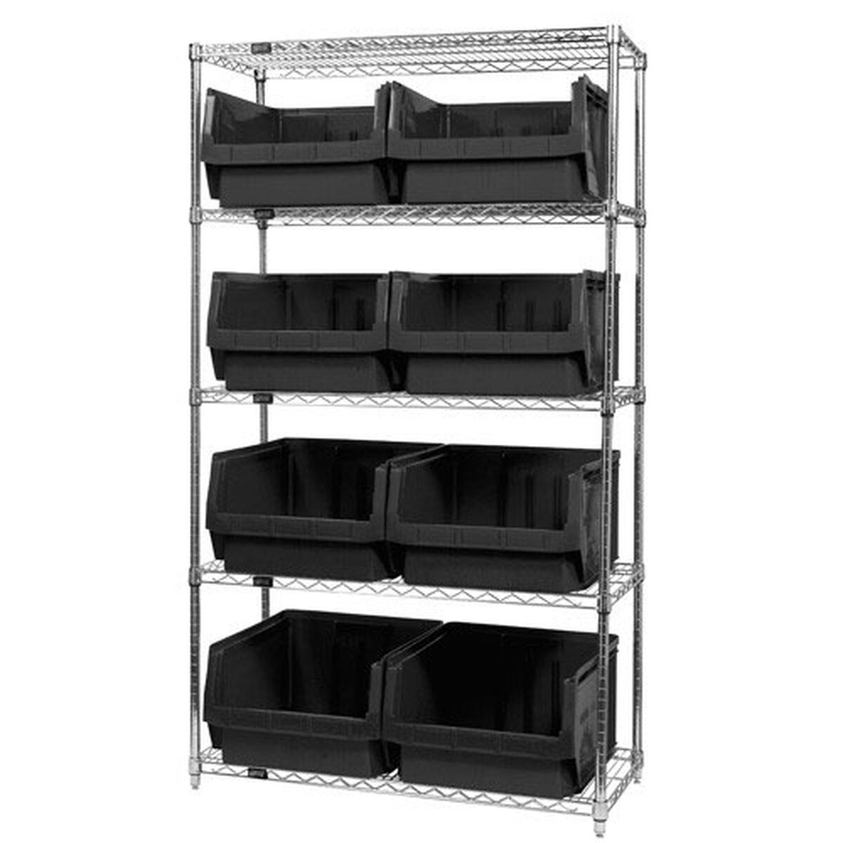 Wire Shelving Unit with Bins WR5-543-BK | Bizchair.com
