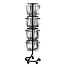 Safco® Wire Rotary Display Racks - 16 Compartments - 15w x 15d x 60h - Charcoal
