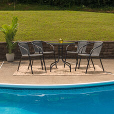 28'' Round Glass Metal Table with Gray Rattan Edging and 4 Gray Rattan Stack Chairs