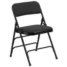 HERCULES Series Curved Triple Braced & Double-Hinged Black Patterned Fabric Metal Folding Chair