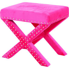 OSP Accents Katie Bench with Silver Nail Heads - Pink Micro Velvet