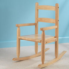Classic Style Childs Indoor Wooden Rocker with Two-Slat Back - Natural