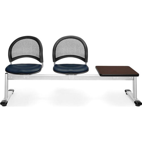 Our Moon 3-Beam Seating with 2 Navy Vinyl Seats and 1 Table - Mahogany Finish is on sale now.