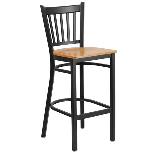 Our Black Vertical Back Metal Restaurant Barstool with Natural Wood Seat is on sale now.