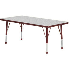 Adjustable Standard Height Laminate Top Rectangular Activity Table - Nebula Top with Burgundy Edge and Legs - 30