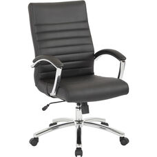 Work Smart Executive Faux Leather Mid-Back Chair with Padded Arms - Black