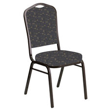 Embroidered Crown Back Banquet Chair in Circuit Gray Fabric - Gold Vein Frame